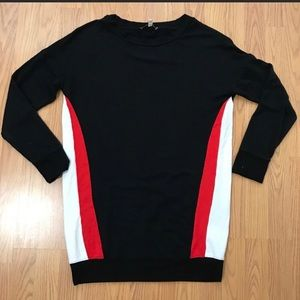 Express red white & black colorblock tunic sweater